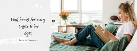 Books App Offer with Girl reading in bed Facebook cover Modelo de Design
