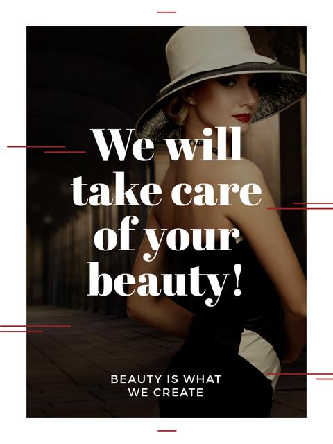 Beauty Services Ad with Fashionable Woman Poster US – шаблон для дизайну