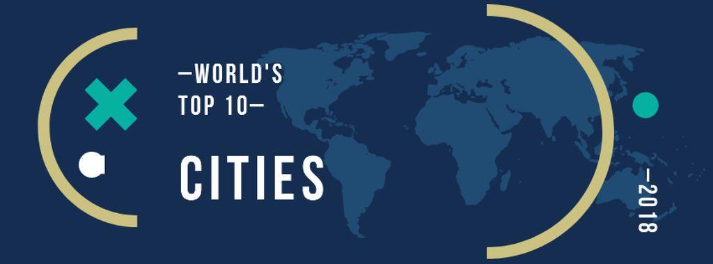 Modèle de visuel World map with frame - Facebook cover