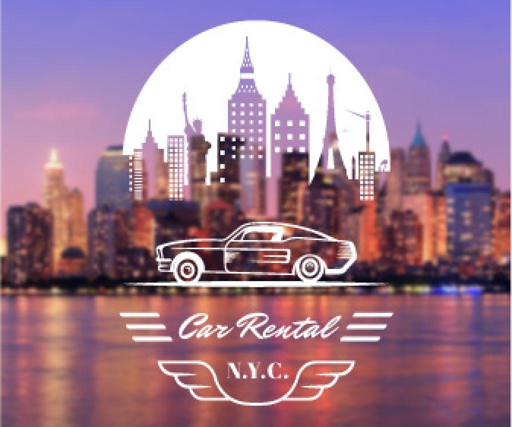 Car rental service poster Large Rectangle Design Template
