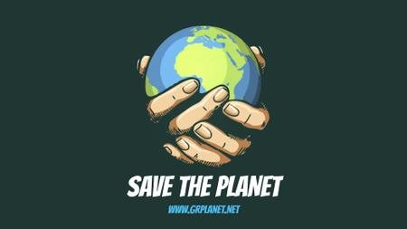 Plantilla de diseño de Planet Protection Earth Globe in Hands Full HD video