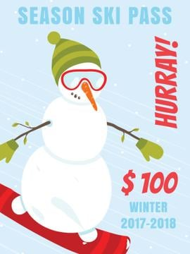 Season ski pass offer with Snowman