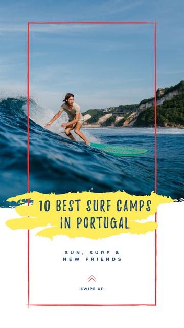 Man riding Surfboard Instagram Story – шаблон для дизайну