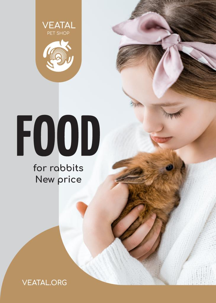 Pet Food Offer Girl Hugging Bunny — Создать дизайн