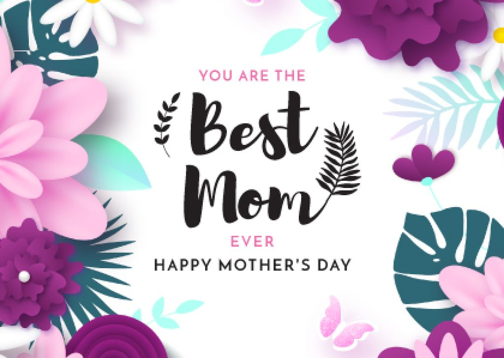 Happy Mother's Day Greeting in Flowers Frame — Crea un design