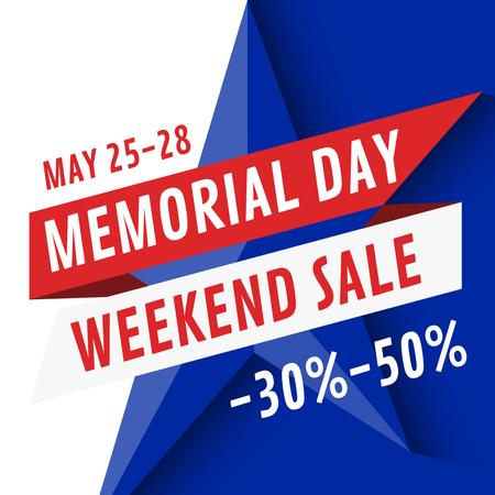 Plantilla de diseño de USA Memorial Day sale with star Instagram AD