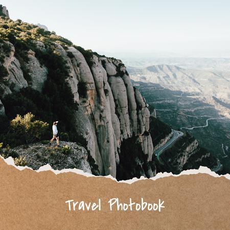 Camping Tour in mountains impressions Photo Book Modelo de Design