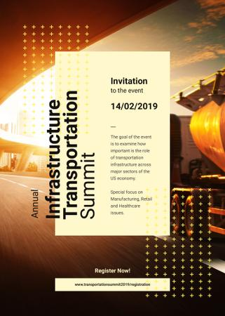 Plantilla de diseño de Truck driving on a road Invitation