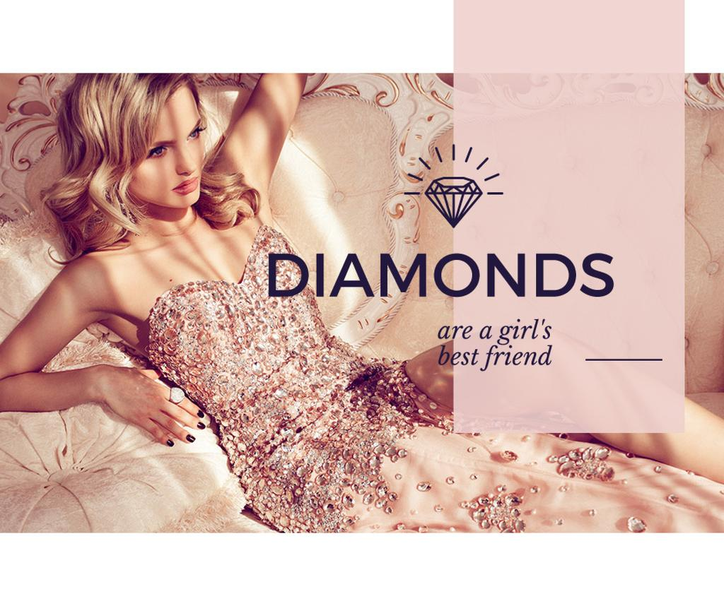 young woman with text diamonds are girl's best friend — Crea un design