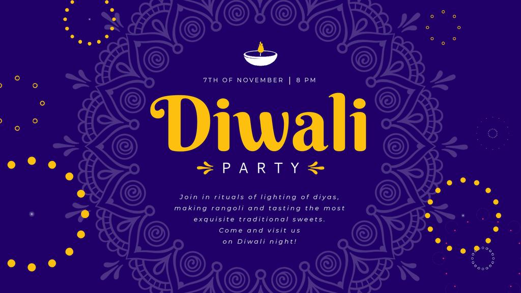 Diwali Party Invitation Mandala in Blue | Full Hd Video Template — Crear un diseño