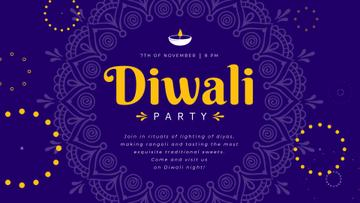 Diwali Party Invitation Mandala in Blue | Full Hd Video Template
