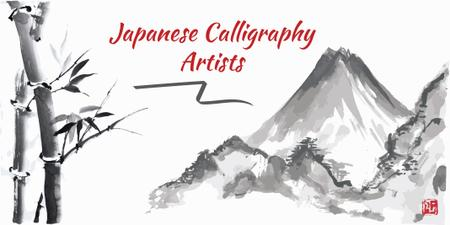 Japanese Calligraphy with Landscape Painting Twitter Modelo de Design