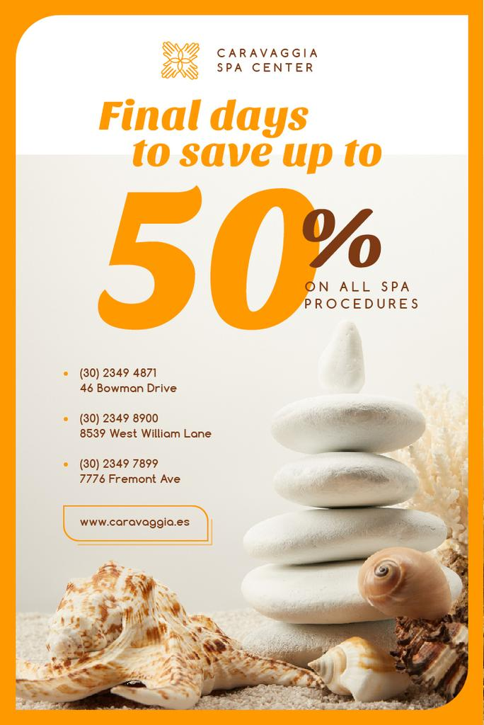 Spa Center Ad with Zen Stones and Shells — Create a Design