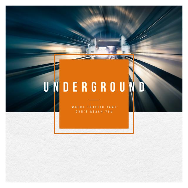 Train in Subway Tunnel Instagram AD Tasarım Şablonu