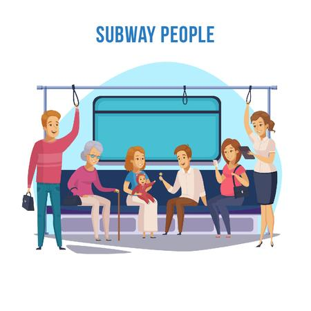 People in subway train Animated Post Modelo de Design