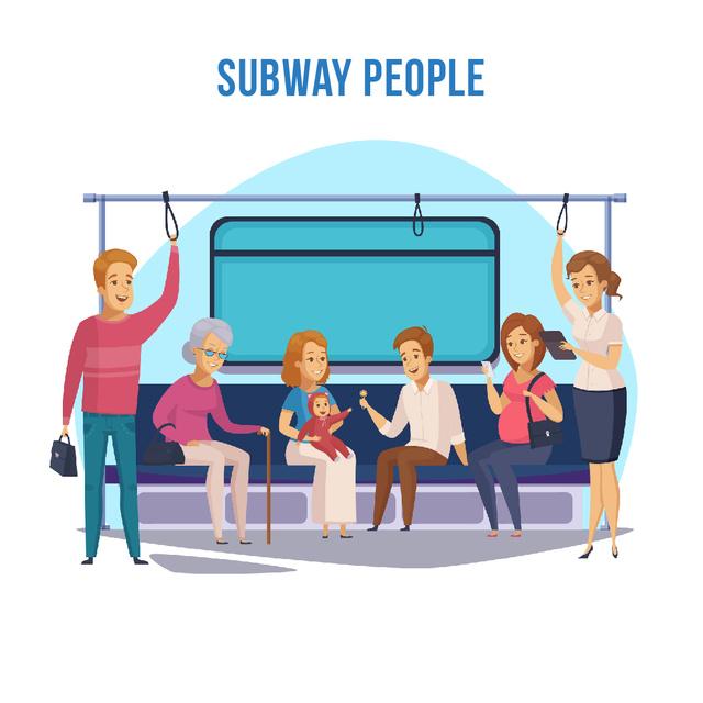 Plantilla de diseño de People in subway train Animated Post