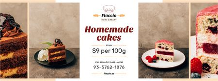 Plantilla de diseño de Homemade Bakery Offer Sweet Layered Cakes Facebook cover