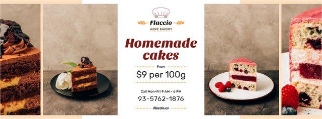 Homemade Bakery Offer Sweet Layered Cakes Facebook cover – шаблон для дизайну