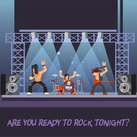Rock Band Performing on Stage Animated Postデザインテンプレート