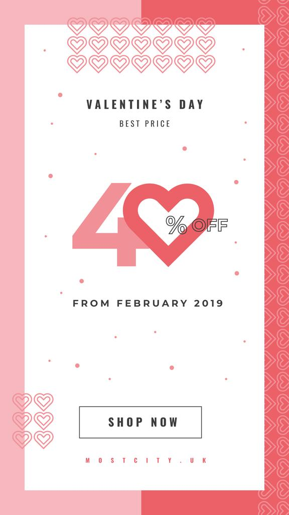 Shop Valentine's Sale Card with Red Hearts — Modelo de projeto