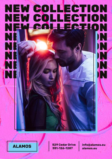Fashion Collection Ad with Stylish Couple in Neon Poster Modelo de Design