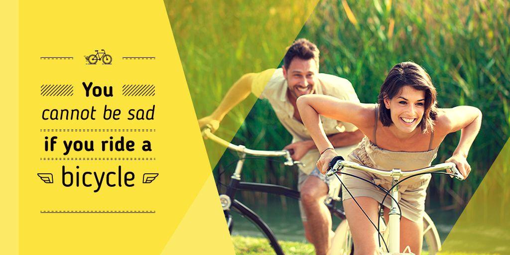 happy young couple riding bicycles near corn field — Créer un visuel