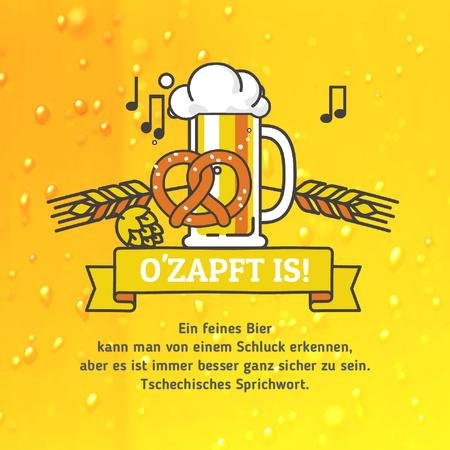 Oktoberfest Offer with Lager in Glass Mug in Yellow Animated Postデザインテンプレート