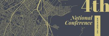 Urbanism Conference Announcement City Map Illustration | Twitter Header Template