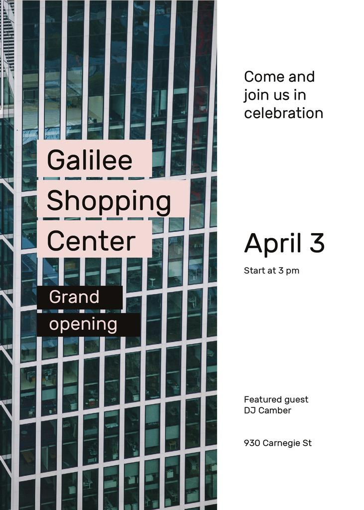 Grand Opening Shopping Center Glass Building — Crea un design