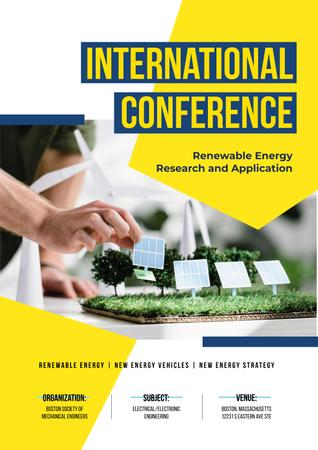 Template di design Renewable Energy Conference Announcement with Solar Panels Model Poster