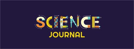 Science journal text logo Facebook Video cover Modelo de Design
