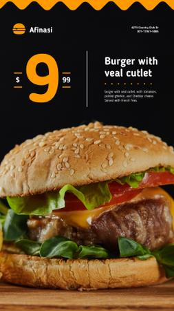 Fast Food Offer with Tasty Burger Instagram Story Modelo de Design