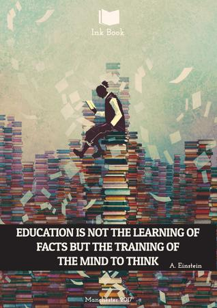 Plantilla de diseño de Education quote with man in library Poster