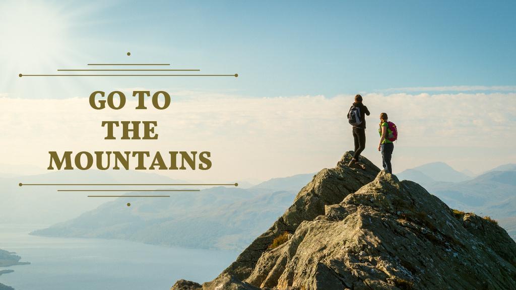 Plantilla de diseño de Mountains Hiking Tour Offer Travelers Enjoying View Youtube Thumbnail
