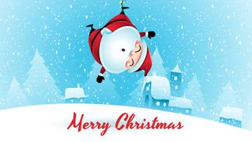 Christmas Greeting Hanging Santa Claus
