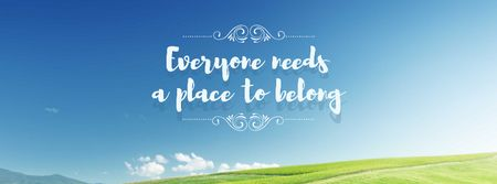 Motivational Quote with blue Sky and field Facebook cover Tasarım Şablonu