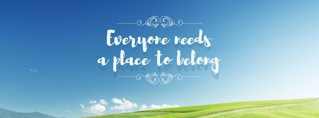 Ontwerpsjabloon van Facebook cover van Motivational Quote with blue Sky and field