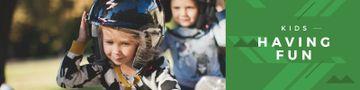 Happy little kids wearing helmets