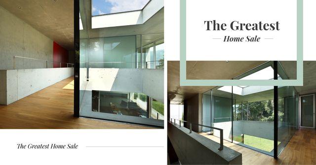 Plantilla de diseño de Modern house interior and facade Facebook AD