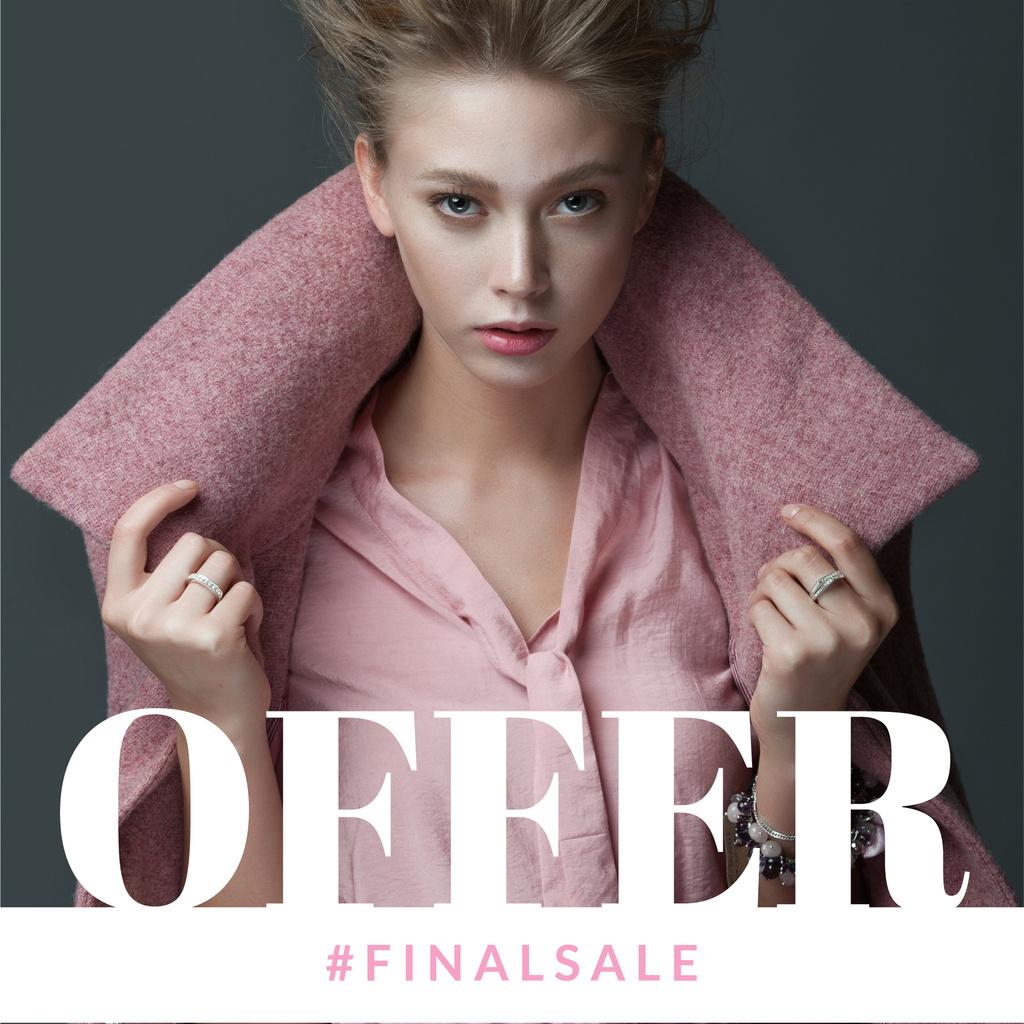 Modèle de visuel Fashion Ad Woman in winter Coat - Instagram AD