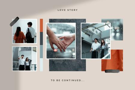 Ontwerpsjabloon van Mood Board van Young Couple love story in city