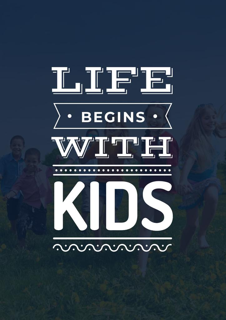 Motivational Quote with Kids on Green Meadow — Créer un visuel