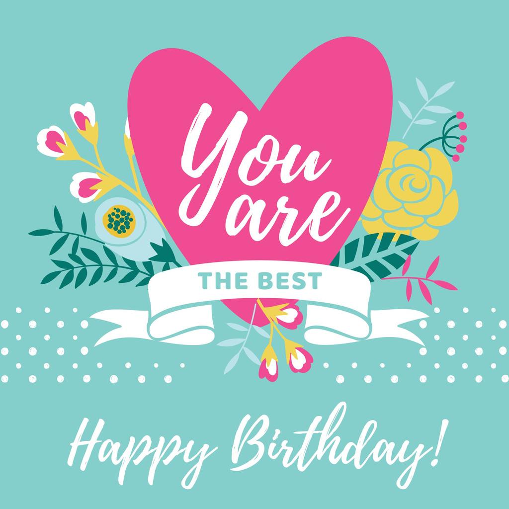 Happy Birthday greeting Heart and Flowers — Crear un diseño