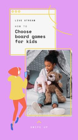 Ontwerpsjabloon van Instagram Story van Live Stream about Board Games for Kids
