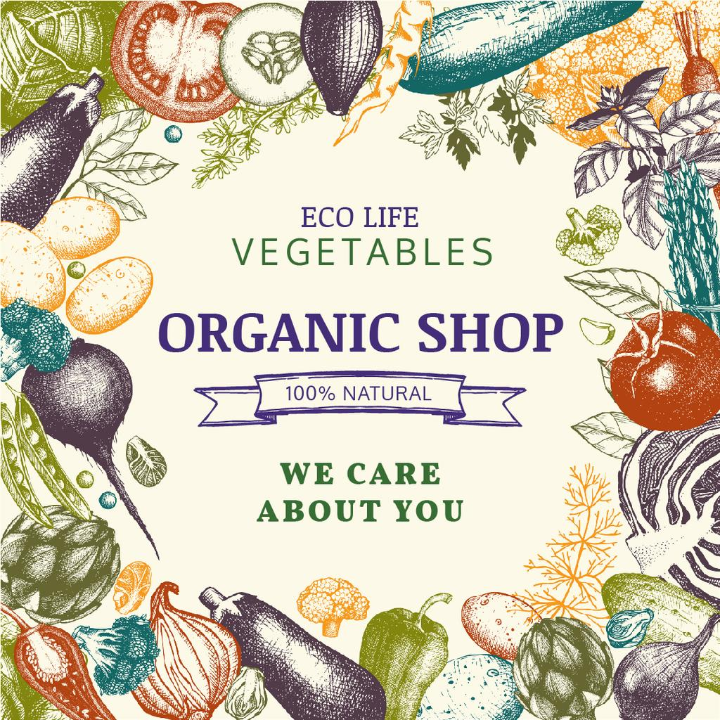 Organic shop poster with vegetables — Створити дизайн