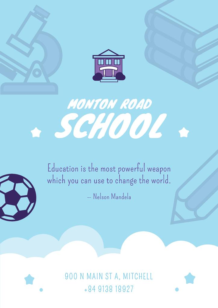 School Advertisement Education with Icons in Blue — Create a Design