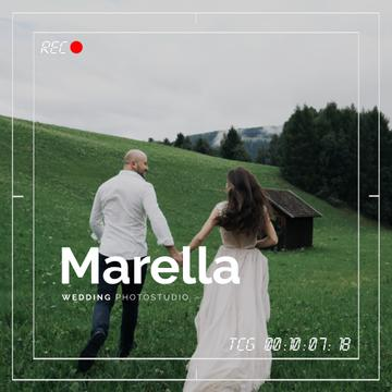 Wedding Shooting Viewfinder Running Couple in Nature | Square Video Template