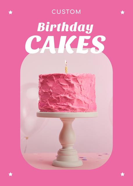 Birthday Offer Pink Sweet Cake Flayer Tasarım Şablonu