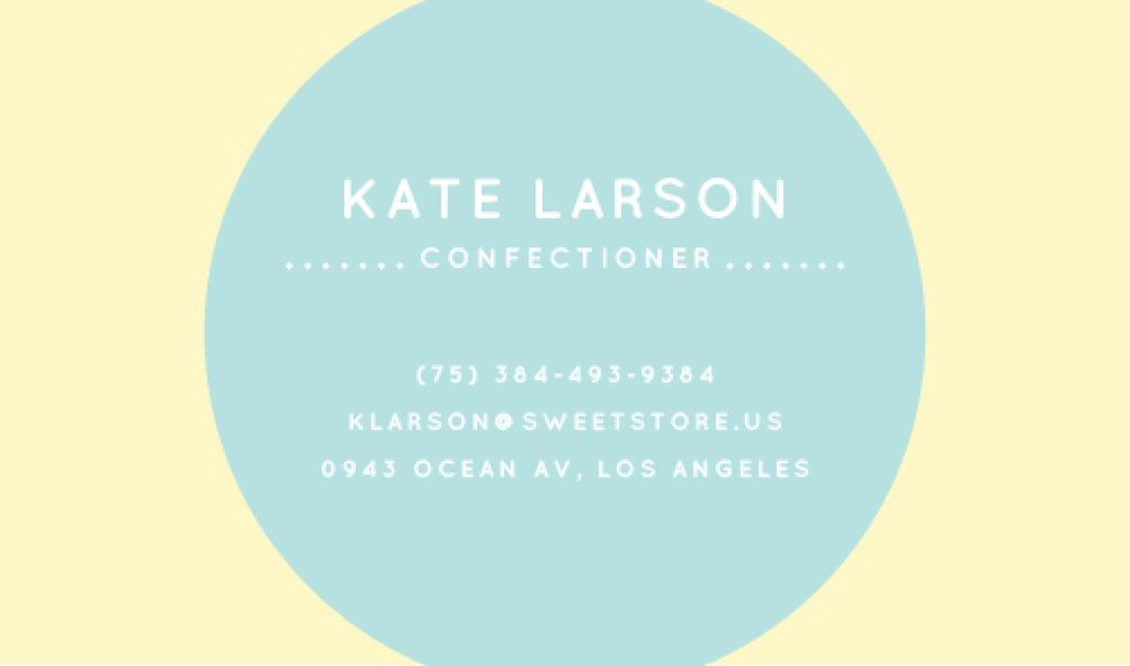 Confectioner Contacts Circle Frame in Blue | Business Card Template — Create a Design