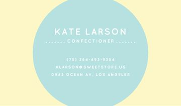 Confectioner Contacts Circle Frame in Blue | Business Card Template